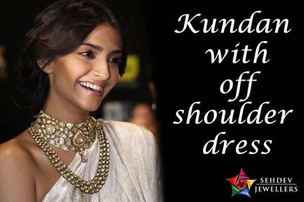 Kundan with off shoulder dress